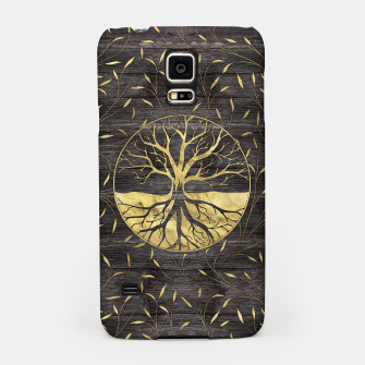 Thumbnail image of Golden Tree of life on wooden texture Samsung Case, Live Heroes