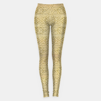 Thumbnail image of Golden Celtic Pattern on canvas texture Leggings, Live Heroes