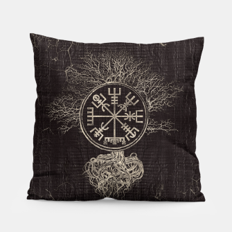Thumbnail image of Vegvisir  and Tree of life  -Yggdrasil  Pillow, Live Heroes