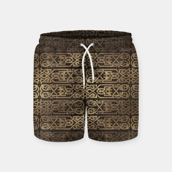Thumbnail image of Golden Celtic Pattern on wooden texture Swim Shorts, Live Heroes