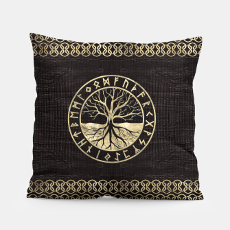 Thumbnail image of Tree of life  -Yggdrasil and  Runes on wooden texture Pillow, Live Heroes