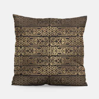 Thumbnail image of Golden Celtic Pattern on wooden texture Pillow, Live Heroes