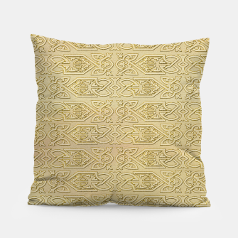 Thumbnail image of Golden Celtic Pattern on canvas texture Pillow, Live Heroes