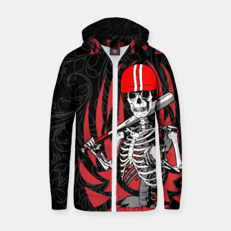 Thumbnail image of Dirt Dog Baseball Player Skeleton Cotton zip up hoodie, Live Heroes