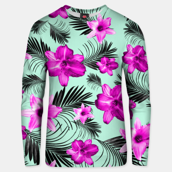 Tropical Flowers Palm Leaves Finesse #9 #tropical #decor #art Baumwoll sweatshirt Bild der Miniatur