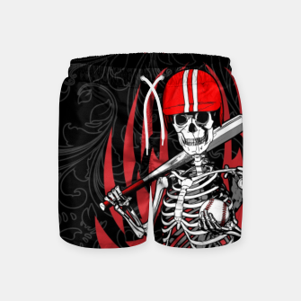 Thumbnail image of Dirt Dog Baseball Player Skeleton Swim Shorts, Live Heroes