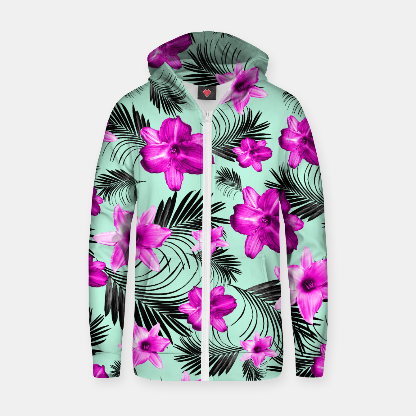 Imagen de Tropical Flowers Palm Leaves Finesse #9 #tropical #decor #art Baumwoll reißverschluss kapuzenpullover - Live Heroes