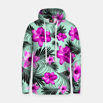 Tropical Flowers Palm Leaves Finesse #9 #tropical #decor #art Baumwoll Kapuzenpullover Bild der Miniatur