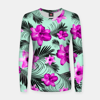Tropical Flowers Palm Leaves Finesse #9 #tropical #decor #art Frauen baumwoll sweatshirt Bild der Miniatur