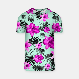 Tropical Flowers Palm Leaves Finesse #9 #tropical #decor #art T-Shirt Bild der Miniatur