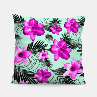 Tropical Flowers Palm Leaves Finesse #9 #tropical #decor #art Kissen Bild der Miniatur