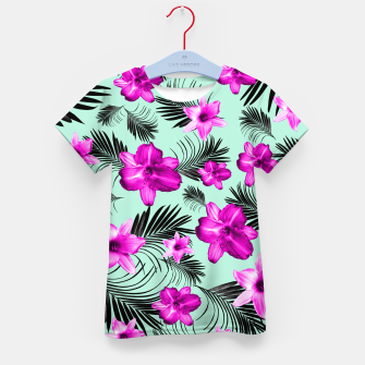 Tropical Flowers Palm Leaves Finesse #9 #tropical #decor #art T-Shirt für kinder Bild der Miniatur