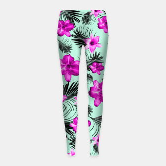 Tropical Flowers Palm Leaves Finesse #9 #tropical #decor #art Kinder-Leggins imagen en miniatura