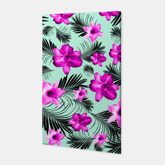 Tropical Flowers Palm Leaves Finesse #9 #tropical #decor #art Canvas imagen en miniatura