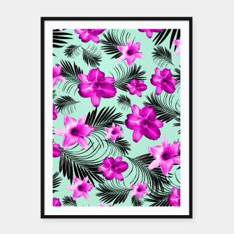 Tropical Flowers Palm Leaves Finesse #9 #tropical #decor #art Plakat mit rahmen imagen en miniatura