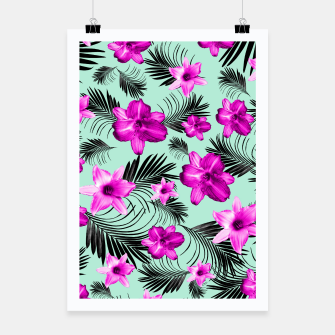 Tropical Flowers Palm Leaves Finesse #9 #tropical #decor #art Plakat Bild der Miniatur