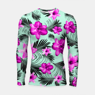 Tropical Flowers Palm Leaves Finesse #9 #tropical #decor #art Longsleeve rashguard imagen en miniatura