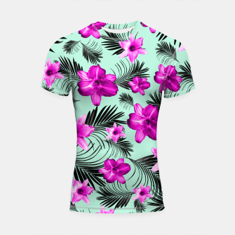 Tropical Flowers Palm Leaves Finesse #9 #tropical #decor #art Shortsleeve rashguard imagen en miniatura