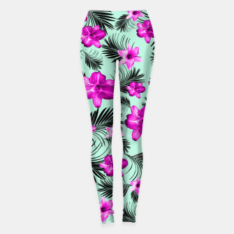 Tropical Flowers Palm Leaves Finesse #9 #tropical #decor #art Leggings imagen en miniatura