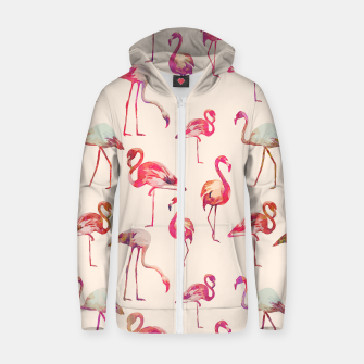 Thumbnail image of Flamingo Happiness Cotton zip up hoodie, Live Heroes
