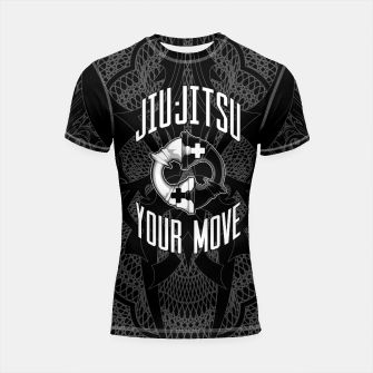 Thumbnail image of Brazilian Jiu-jitsu Chess Kings Shortsleeve rashguard, Live Heroes