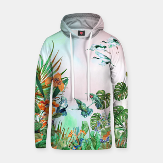Imagen en miniatura de Birds in the paradise of the jungle Sudadera con capucha de algodón, Live Heroes