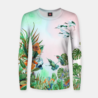 Thumbnail image of Birds in the paradise of the jungle Sudadera de algodón para mujer, Live Heroes