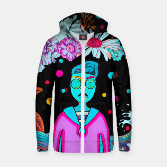 Thumbnail image of Floral waves Cotton zip up hoodie, Live Heroes