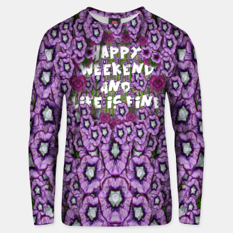 Miniatur forest of climbing flowers and life is fine Cotton sweater, Live Heroes