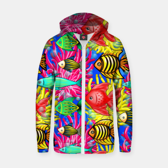 Thumbnail image of Fish Cute Colorful Doodles  Cotton zip up hoodie, Live Heroes