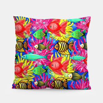 Thumbnail image of Fish Cute Colorful Doodles  Pillow, Live Heroes