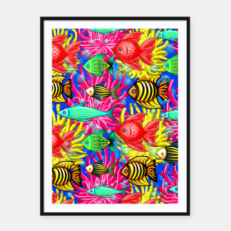 Thumbnail image of Fish Cute Colorful Doodles  Framed poster, Live Heroes