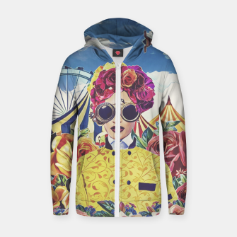 Thumbnail image of Steampunk floral Cotton zip up hoodie, Live Heroes