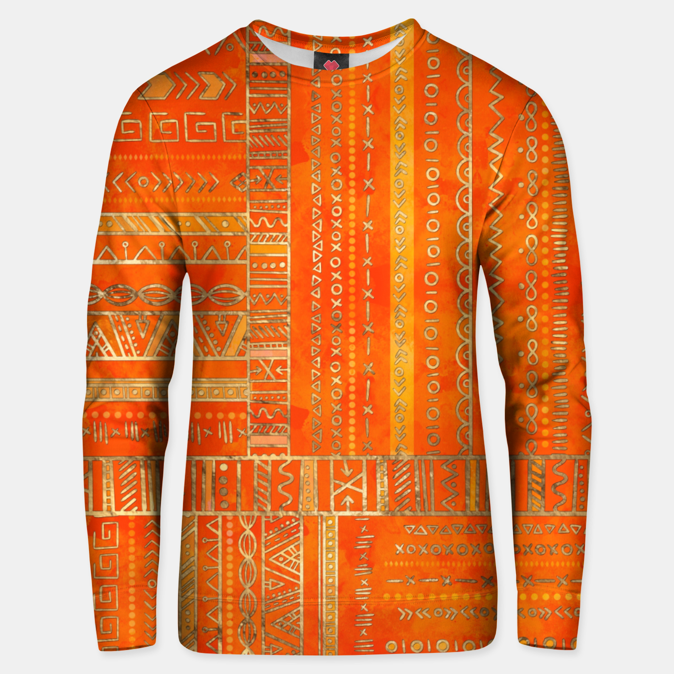f0e46c352f6ff0 Tribal Ethnic pattern gold on bright orange Cotton sweater