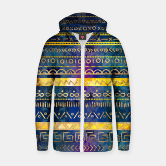 Thumbnail image of Tribal Ethnic pattern gold colorful painted texture Cotton zip up hoodie, Live Heroes