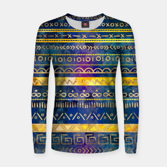 Thumbnail image of Tribal Ethnic pattern gold colorful painted texture Woman cotton sweater, Live Heroes