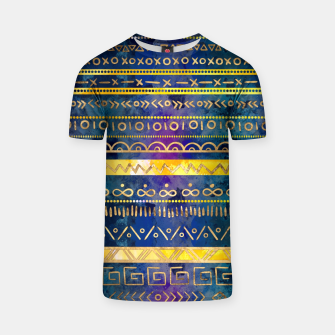 Thumbnail image of Tribal Ethnic pattern gold colorful painted texture T-shirt, Live Heroes