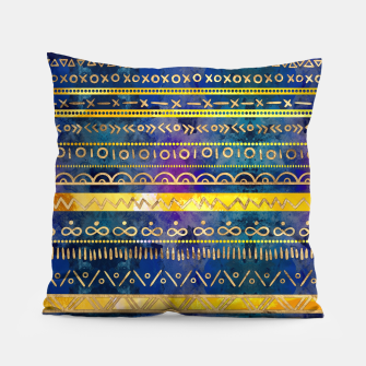 Thumbnail image of Tribal Ethnic pattern gold colorful painted texture Pillow, Live Heroes