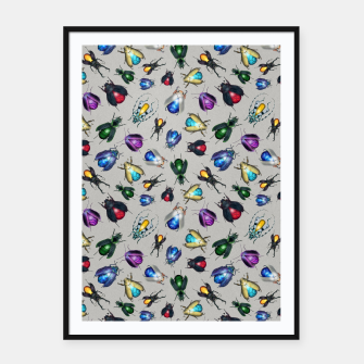 Thumbnail image of Colorful Mineral Beetles Framed poster, Live Heroes
