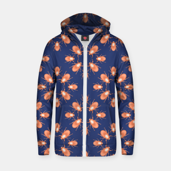 Thumbnail image of Copper Beetles on Navy Background Cotton zip up hoodie, Live Heroes