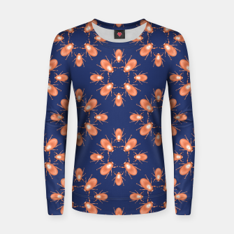 Thumbnail image of Copper Beetles on Navy Background Woman cotton sweater, Live Heroes