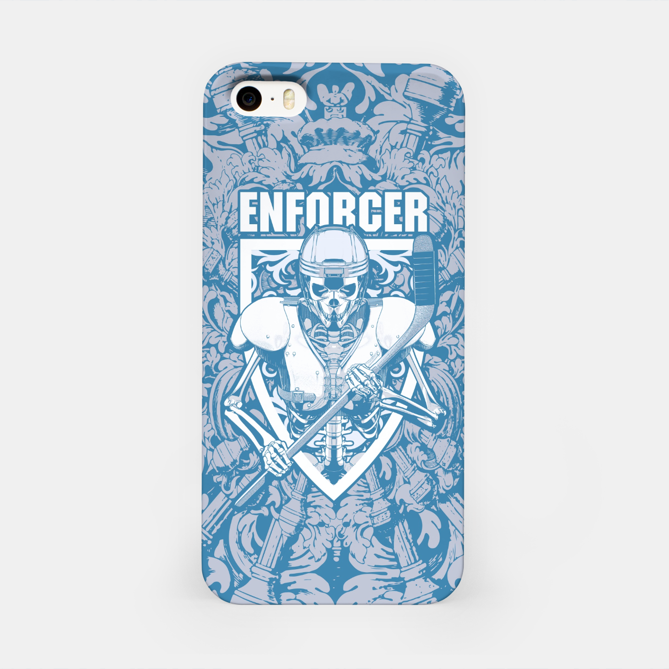 Image of Enforcer Ice Hockey Player Skeleton iPhone Case - Live Heroes