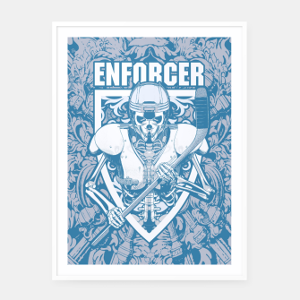 Thumbnail image of Enforcer Ice Hockey Player Skeleton Framed poster, Live Heroes