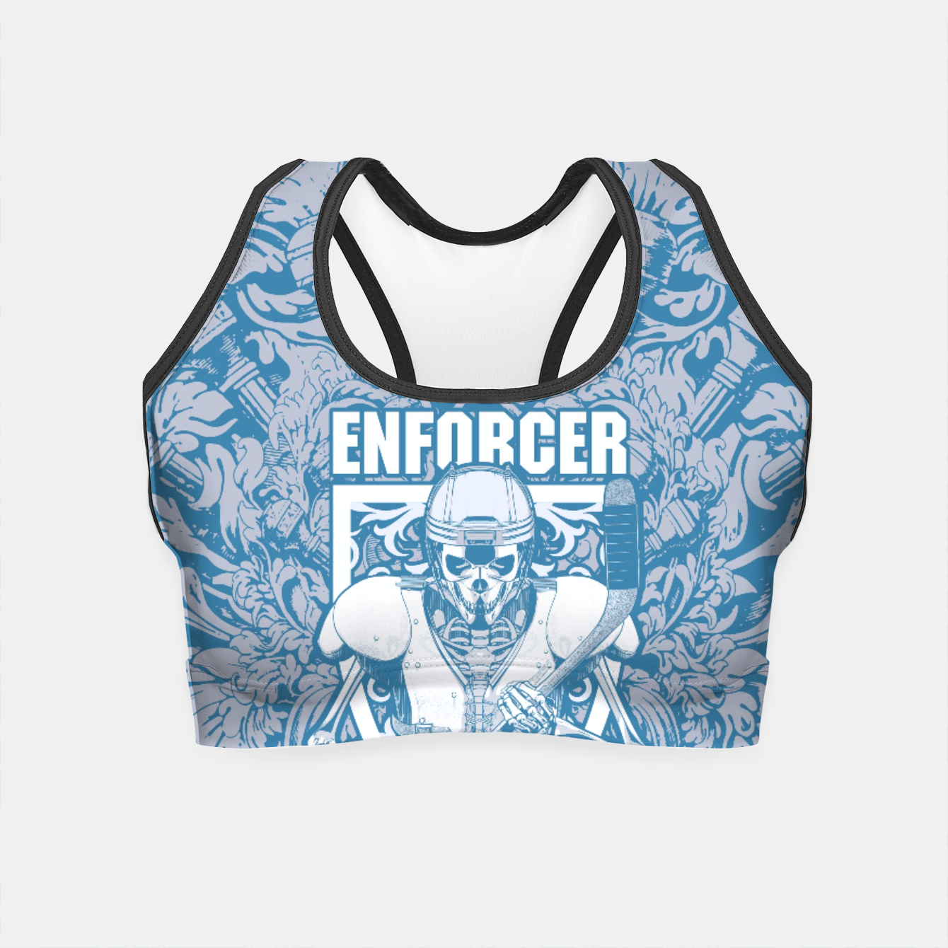Image of Enforcer Ice Hockey Player Skeleton Crop Top - Live Heroes