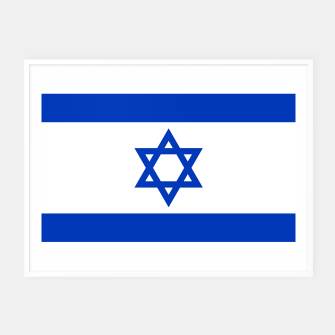 Miniatur Flag of the State of Israel White with Blue Star  Framed poster, Live Heroes