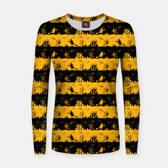 Pale Pumpkin Orange and Black Halloween Nightmare Stripes  Woman cotton sweater thumbnail image