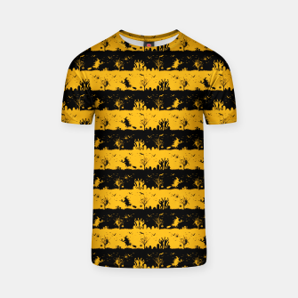 Pale Pumpkin Orange and Black Halloween Nightmare Stripes  T-shirt thumbnail image