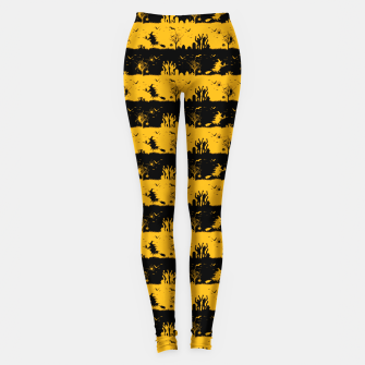 Pale Pumpkin Orange and Black Halloween Nightmare Stripes  Leggings thumbnail image