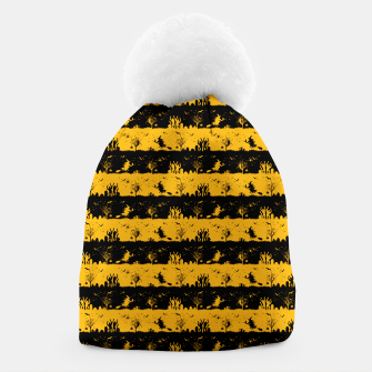 Pale Pumpkin Orange and Black Halloween Nightmare Stripes  Beanie thumbnail image