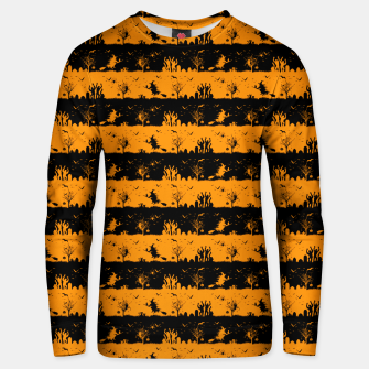 Pumpkin Orange and Black Halloween Nightmare Stripes  Cotton sweater thumbnail image